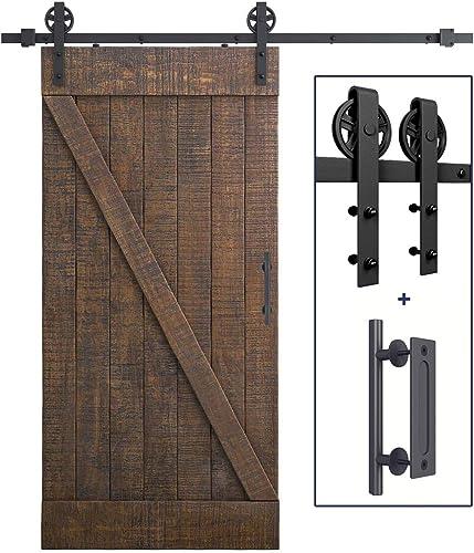 "new arrival 6.6 FT Heavy Duty Sliding Barn Door Hardware popular Kit(Wheel Shape) + new arrival 12"" Pull and Flush Barn Door Handle Set outlet sale"