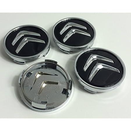 X4 Enjoliveurs en aluminium de 60mm pour Citroen C2C4C5C6C-quatre Logo noir / chromé