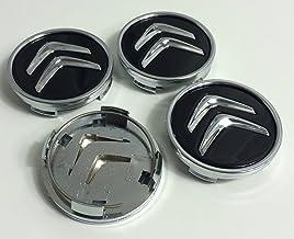 Juego de 4 tapacubos para Citroën, de 60 mm, tapas para llantas para C2, C4, C5, C6, de color negro con el logo cromado