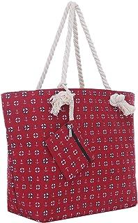 Große Strandtasche mit Reißverschluss 58 x 38 x 18 cm Strand-Maritim Design rot Shopper Schultertasche