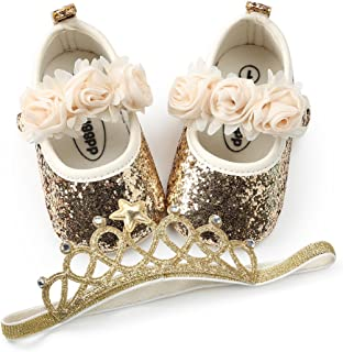BENHERO Baby Infant Girls Soft Sole Floral Princess Mary Jane Shoes Prewalker Dress Shoes