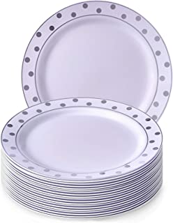 Silver Spoons 20 Premium Reusable Plastic Dinner Plates | Dots - Silver | 7.5