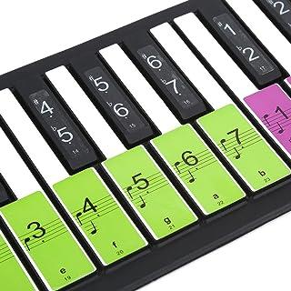Autocollants amovibles pour piano clavier 88 Touches indiquant les notes des touches blanches Pour débutants (Coloré)