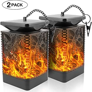 Walensee Solar Lantern Lights Dancing Flame Waterproof Outdoor Hanging Lantern Solar Powered Umbrella LED Night Lights Dusk to Dawn Auto On/Off Landscape Decorative for Garden Patio Yard Path 2 Pack