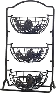 Gourmet Basics by Mikasa 5217598 Rooster 3-Tier Metal Fruit Storage Countertop Basket, Antique Black