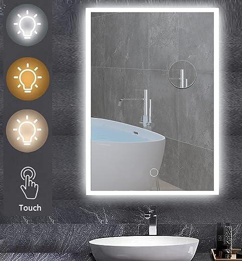 Peralng Badspiegel mit Beleuchtung, 80x60cm Badezimmerspiegel mit Touch Schalter,Beschlagfrei,3 Lichtfarbe,IP44 energiesparend und Dimmbar 3000-6000K