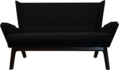 Lewis Interiors - Handcrafted Designer Mid Century Modern Wingback Loveseat Sofa Bench Couch - MCM Sofa - Made in America -Black