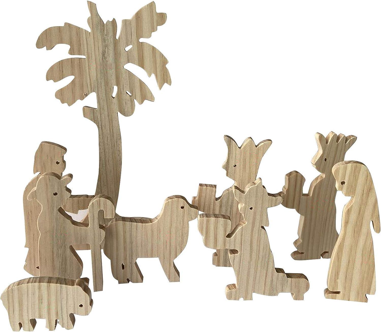 APLT Wooden Inexpensive Nativity Max 53% OFF Set Manger Creche Scene Mon