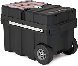 Keter Masterloader Resin Rolling Tool Box with Locking System and Removable Bins –..