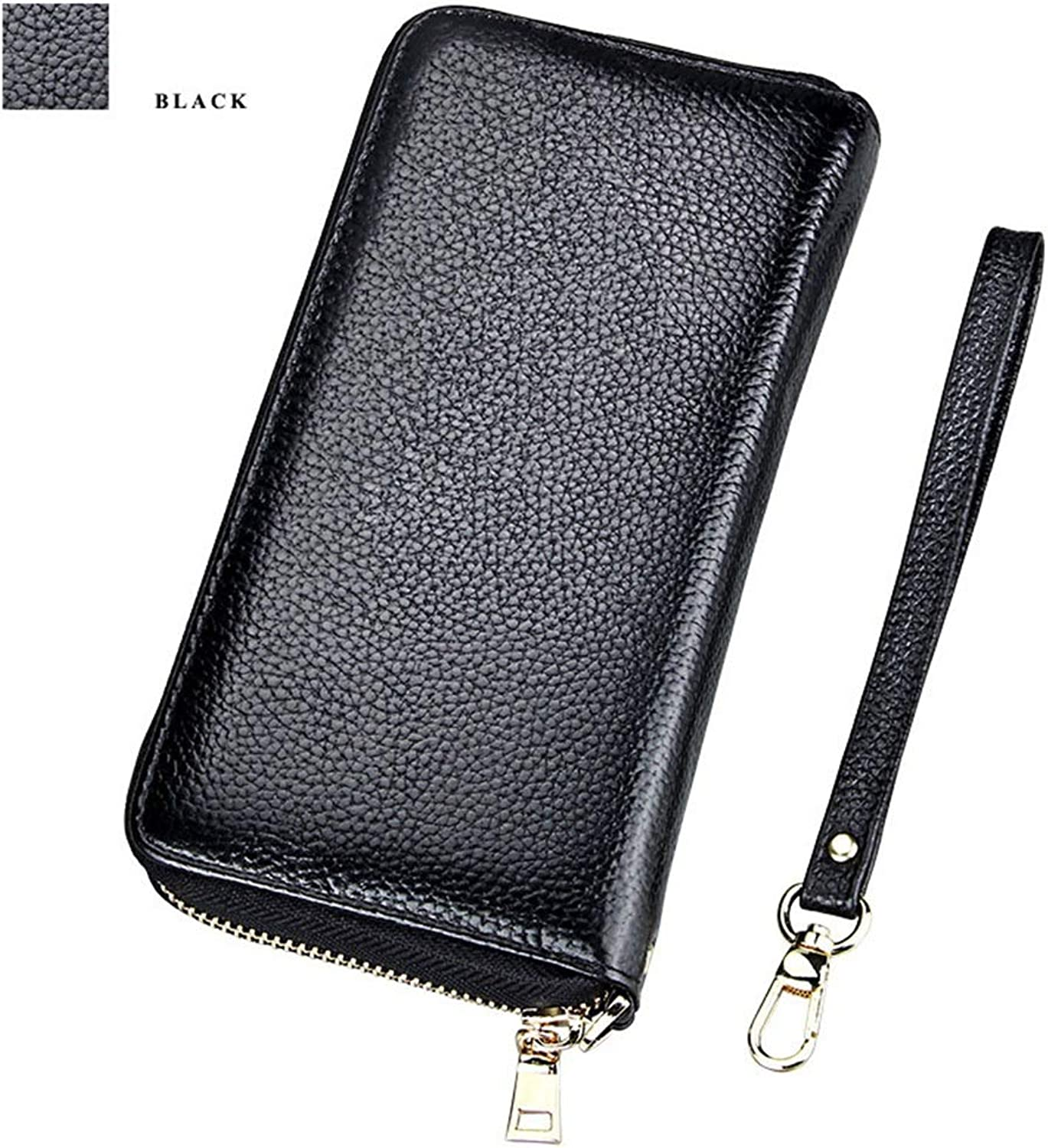 Sturdy New Women's Wallet Genuine Leather Long Bifold RFID Blocking Card Holder Large Capacity (color   Black)