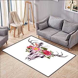 Custom Rug,Antler Decor Deer Animal Skull with Flowers and Feathers Vintage Style Watercolor Artwork,Ideal Gift for Children,4'11