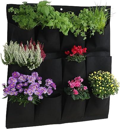 Ouken 4 Taschen Wand vertikal h/ängende Filz-Planter Taschen wachsen Taschen f/ür Pflanzen Blume
