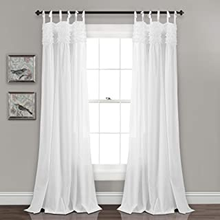 "Lush Decor Lydia Curtains Ruffle Window Panel Set for Living, Dining, Bedroom (Pair), 84"" x 40"", White"