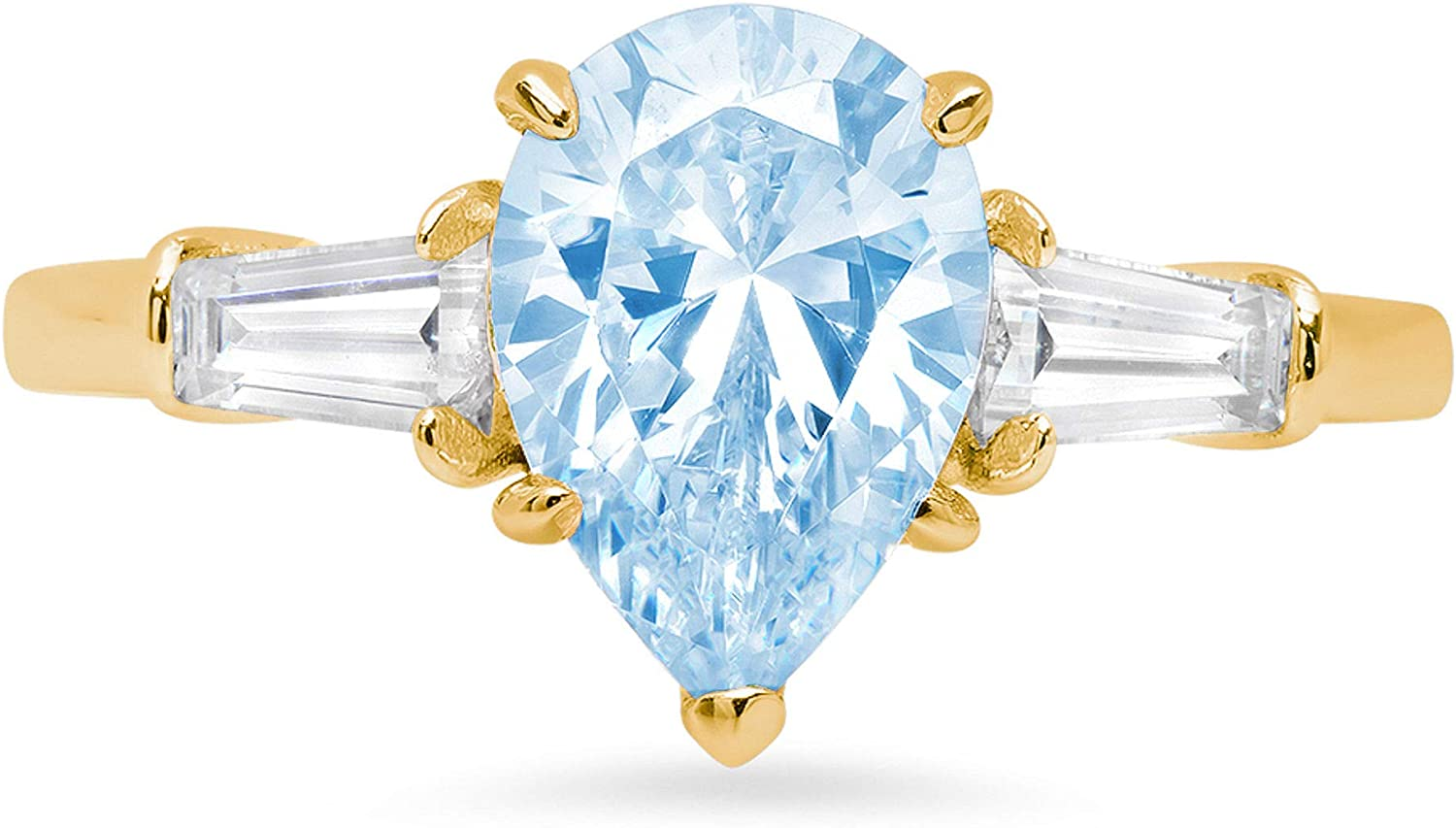 2.47ct Pear Baguette cut 3 stone Solitaire with Accent Natural Sky Blue Topaz Gem Stone VVS1 Designer Modern Statement Ring Solid 14k Yellow Gold Clara Pucci