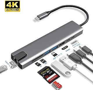 USB C ハブ Type-C 8in1 HUBマルチ変換アダプター 100WPD出力対応 LANポート /2つのUSB-Cポート / 100W出力 PD 対応USB-Cポート / 4K 60HZ 高画質 HDMI出力ポート / 2つのUSB-Aポート /Micro SD/TFカードリーダー 急速充電ポート 多機能 USBハブ 変換アダプター Nintendo Switch/Samsung Galaxy/MacBook pro,Air/Google ChromeBook/Huawei MateBookなど対応