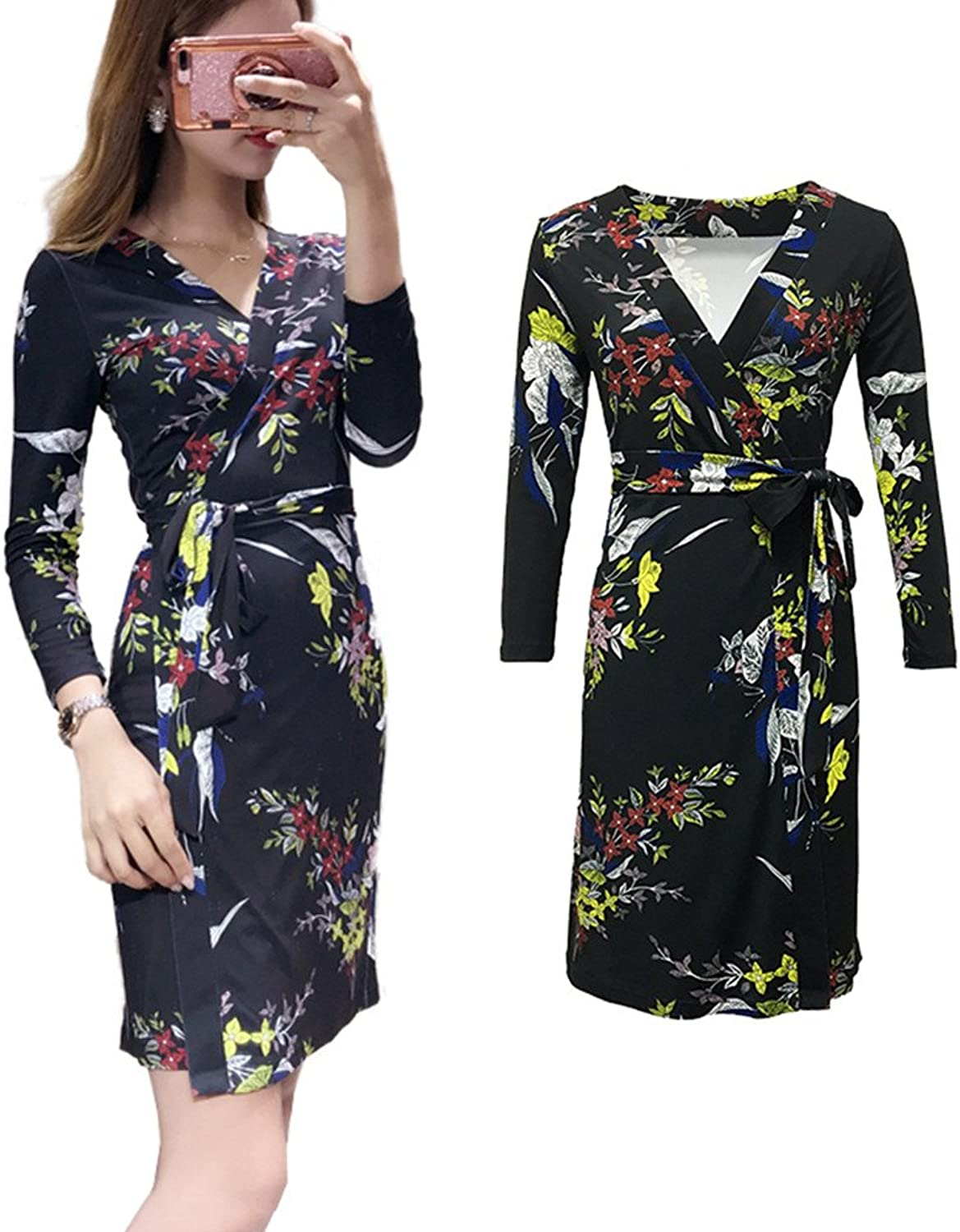 XC DVF Womens Digital Floral Printed Party Maxi Bohemian Floral Wrap Dress with Belt