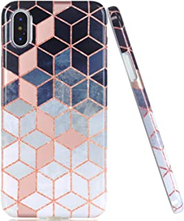 JAHOLAN Shiny Rose Gold Gradient Cubes Design Clear Bumper Glossy TPU Soft Rubber Silicone Cover Phone Case Compatible with iPhone Xs iPhone X - Brown