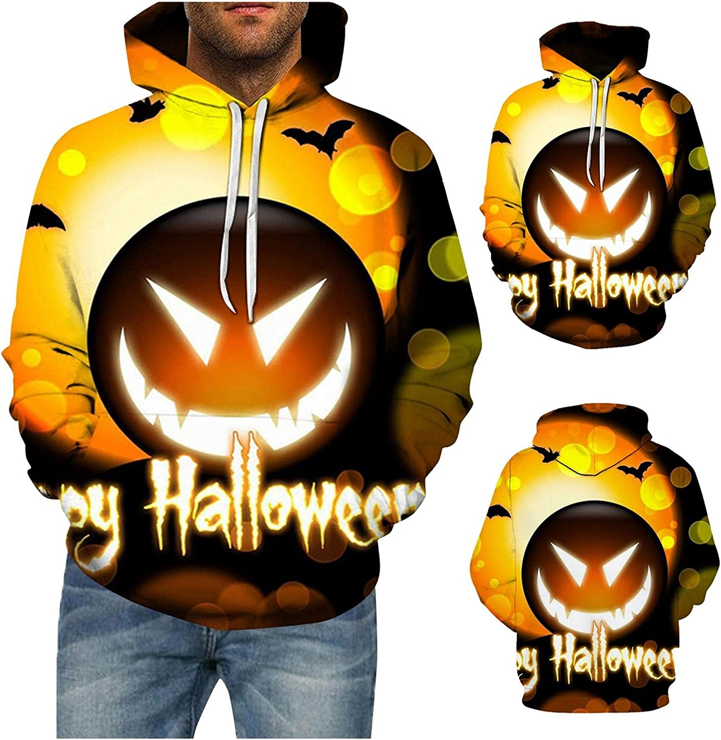 Halloween Pattern Fashion Tee Shirts Long Sleeve Athletic Tops Hoodies Outdoor Workout Mens Shirts