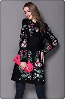Women Winter Coat Embroidered Neck Long Sleeved O Button Female Coat