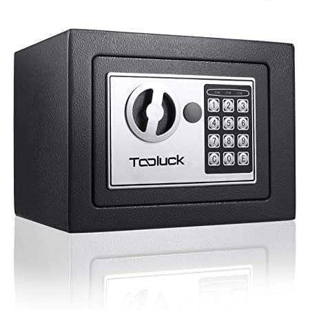 TOOLUCK Safe Box, Digital Security Safe, Fireproof Keypad Safe Lock Box with Keys, Money Box and Deposit Box for Cash Gun Jewelry Home Office Hotel Storage(Black)