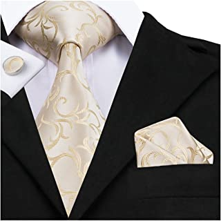Classic Gold Champagne Tie Pocket Square and Cufflinks Gift Box set Woven Silk Wedding Necktie