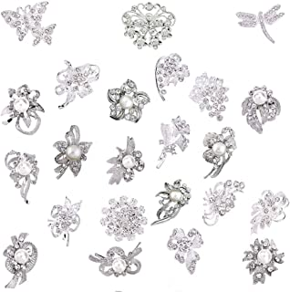 Lot 24pc Shining Rhinestone Crystal Brooches Pins DIY Wedding Bouquet Kit