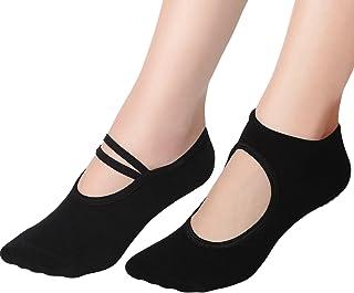 2 Pares de Calcetines de Yoga de Mujeres Antideslizantes Calcetines de Fitness Baile Pilates Ballet, 2 Estilos