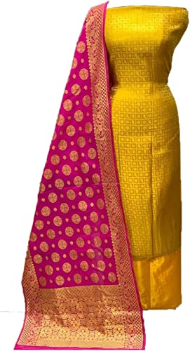 Hasti Women s Banarasi Santoon Jacquard Unstitched Salwar Suit Yellow Rani