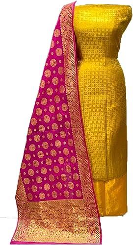 Hasti Women s Banarasi Santoon Jacquard Unstitched Salwar Suit Yellow Rani