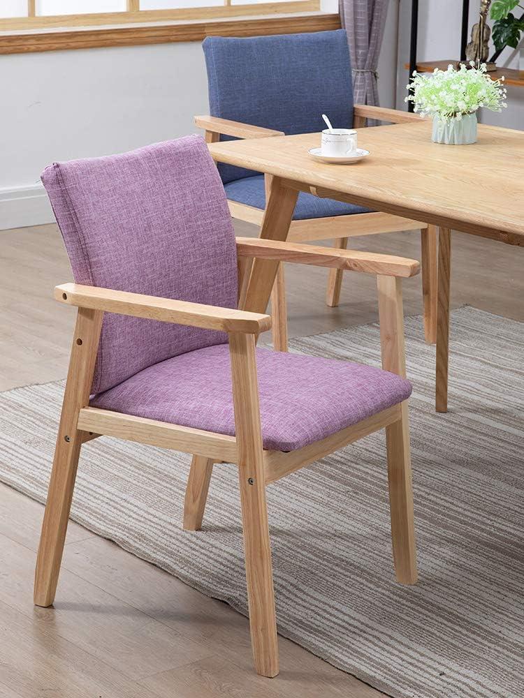Chaise De Salle À Manger en Bois Massif avec Coussinet en Éponge Souple Et Accoudoir,Nordic Minimalist Home Lounge Chair pour Le Salon Wood Color+pink