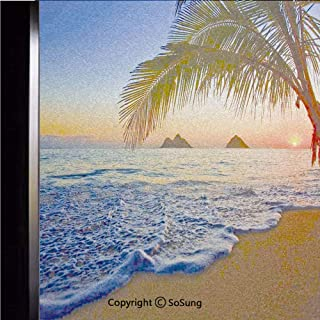18x24 inch Window Privacy Film,Pacific Sunrise at Lanikai Beach Hawaii Colorful Sky Wavy Ocean Surface Scene Non-Adhesive Static Cling Frosted Window Film,Window Stickers for Kids Home Office