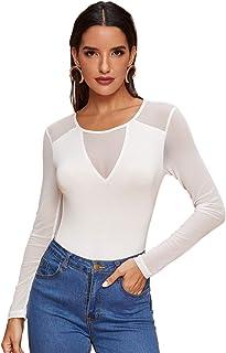 Romwe Women's Sheer Mesh Slim Fit Top Long Sleeve See Through Tee Blouse