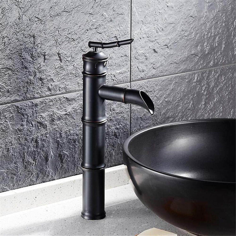 360 ° drehbarer Wasserhahn Retro Wasserhahn Mischbatterie Kupfer Kupfer schwarz Bambus Wasserhahn