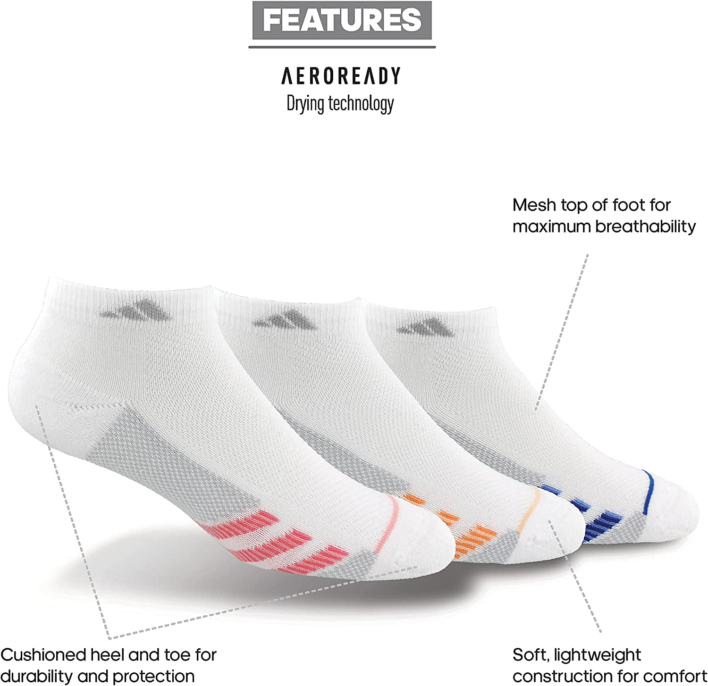 adidas Womens Superlite Stripe Low Cut Socks (3-pair)