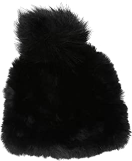 Women's Solid Knitted Faux Fur Beanie with Pom