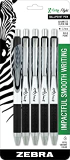 Zebra Pen Z-Grip Flight Retractable Ballpoint Pen, Bold Point, 1.2mm, Black Ink, 5-Count