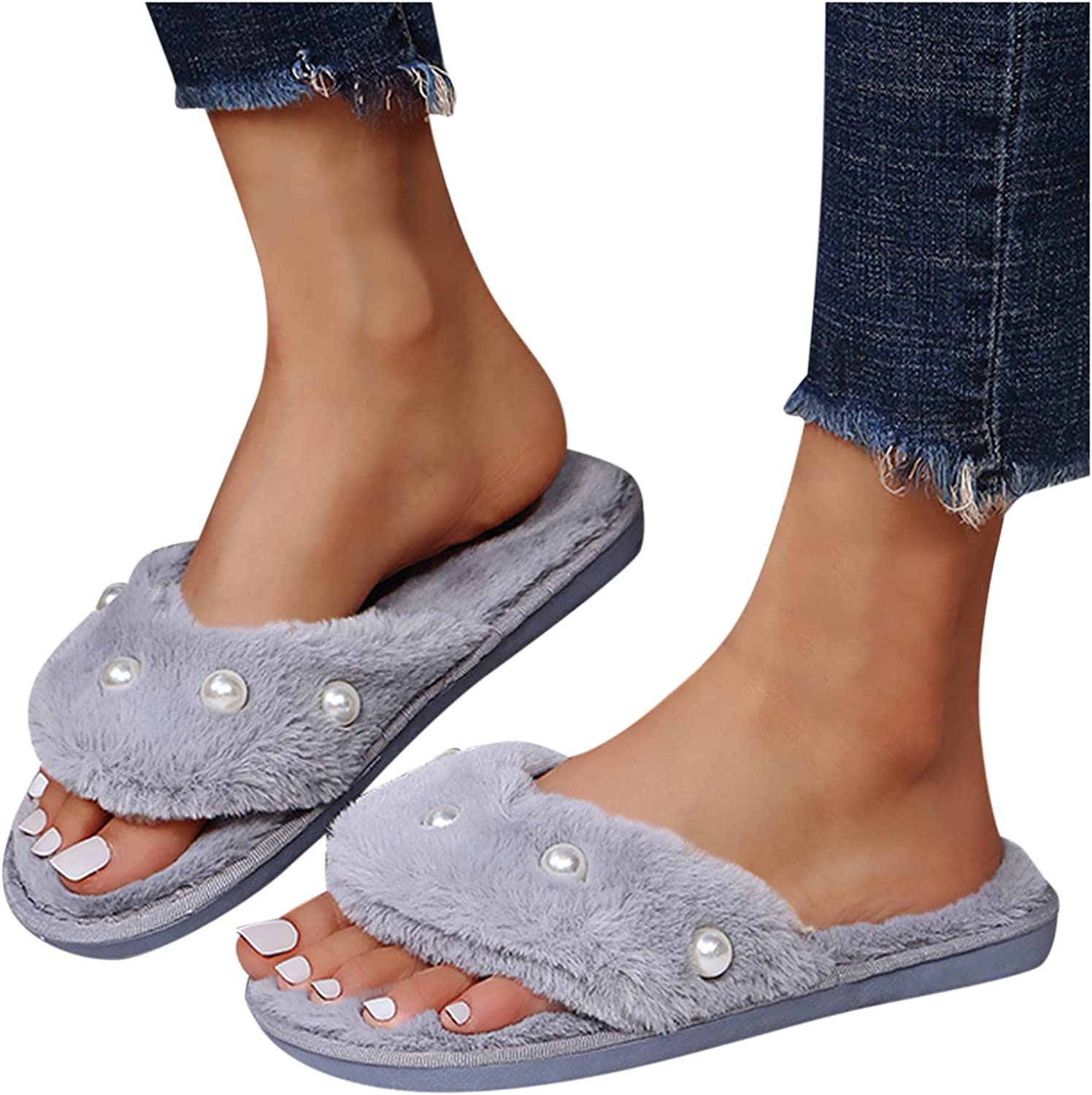 Pure Color Fuzzy Slippers for specialty shop Women Wholesale Plush House Soft Cozy Pearl