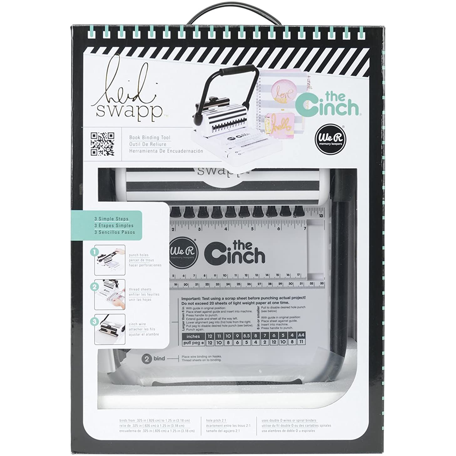 American Crafts Heidi Swapp Cinch Book Binding Machine by We R Memory Keepers | Black and White