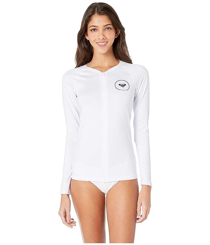 Roxy Essentials Long Sleeve UPF 50 Zip Up Rashguard (Bright White) Women