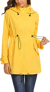 Mofavor Women's Lightweight Waterproof Raincoat with Hood Long Outdoor Hiking Rain Jacket