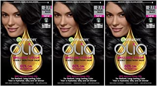 Garnier Olia Ammonia-Free Brilliant Color Oil-Rich Permanent Hair Color, 2.11 Platinum Black (3 Count) Black Hair Dye (Packaging May Vary)