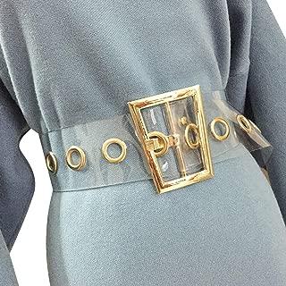 Women Fashion Holographic Clear Wide Belt Transparent PVC Metal Buckle Waist Belt Waistband Cinch Dress Belt