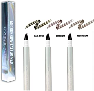 New 4-Tip MicroBrow Tattoo Pen - Waterproof Micro-Blade Eyebrow Pen, Up to 24-hours Without Smudging (3-PACK, Black Brown/Dark Brown/Medium Brown)