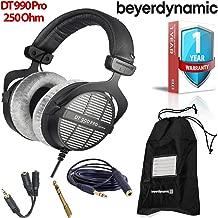 Beyerdynamic DT 990 Pro 250 Ohm Open-Back Studio Mixing Headphones -Includes- Soft Case, Splitter and 1-Year Extended Warranty
