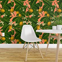 Spoonflower Non-Pasted Wallpaper, Lemon Tropical Summer Citrus Fruit Botanical Leaves Floral Print, Swatch 12in x 24in