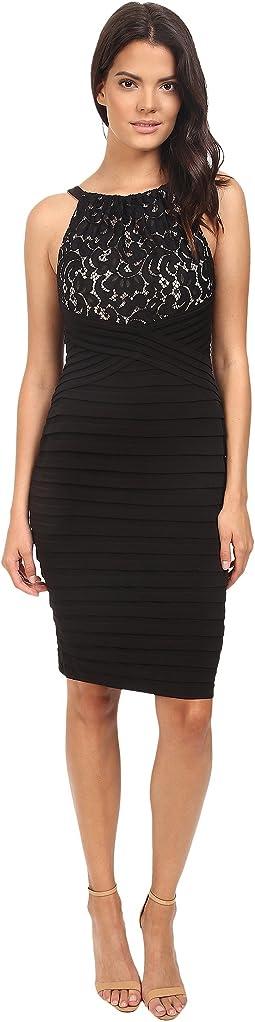 Lace And Jersey Shutter Sheath Dress