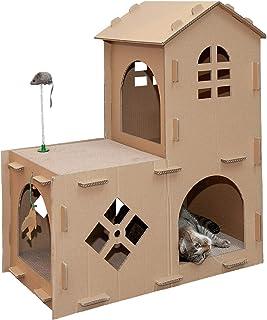 أثاث للقطط من فرهافن بت - مساحة لعب مزرعة متينة على شكل نمر لعبة مخبأ وتموج للقطط والقطط الصغيرة والكرتون (بني)، مقاس واحد