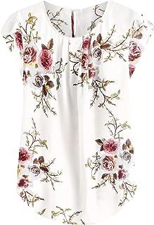 Women's Elegant Floral Print Petal Cap Sleeve Pleated...