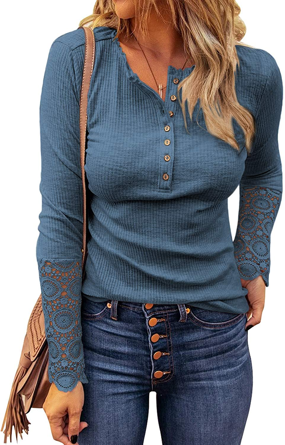 Women's Long Sleeve V Neck Button Up Blouses Shirts Slim Fit Lace Sleeves Ribbed Knit Casual Top Tunic