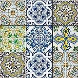 Mi Alma Backsplash - Azulejos decorativos para baño, 24 piezas, pegatinas de azulejos Talavera para pegar y pegar de fácil aplicación, ideal para baño, cocina, azulejos de pared, 4 x 4 (azul vs verde)